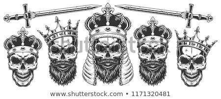 Koponya korona fej csontváz király halál Stock fotó © popaukropa