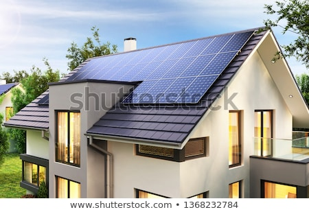 roof of a house with a photovoltaic system stock photo © manfredxy