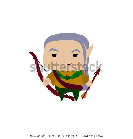 Groene boeg pijl cartoon icon vector Stockfoto © cidepix