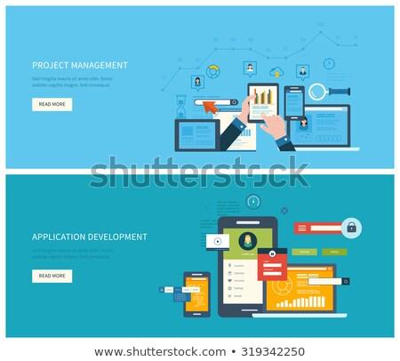 vetor · projeto · ilustração · aplicação · desenvolvimento · edifício - foto stock © makyzz