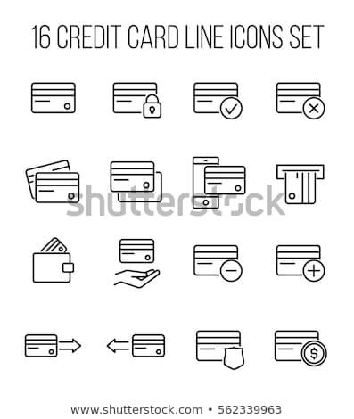 Karty kredytowej line ikona biały ceny podpisania Zdjęcia stock © Imaagio