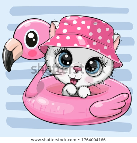 cartoon smiling kitten swimsuit stock photo © cthoman