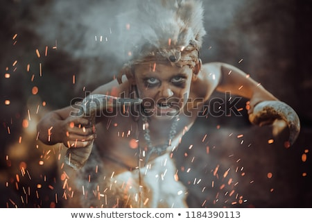 Shamans boy at the fire Stock photo © artfotodima