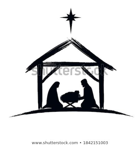 Bible scene the Nativity   black   icon  Stock photo © Olena