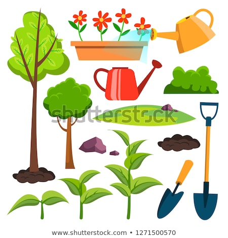 Garden Icons Vector. Watering Can, Shovel, Sapling, Plant, Watering Flowers. Isolated Flat Cartoon I Stock photo © pikepicture