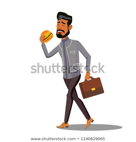 Foto d'archivio: Fast Food Going Businessman Eating Hamburger Vector Isolated Cartoon Illustration