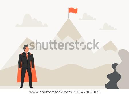 Adam bayrak başlangıç fikirler Stok fotoğraf © robuart