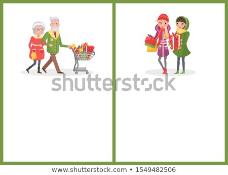 Christmas Shopping, Elderly People with Cart Page Stock photo © robuart