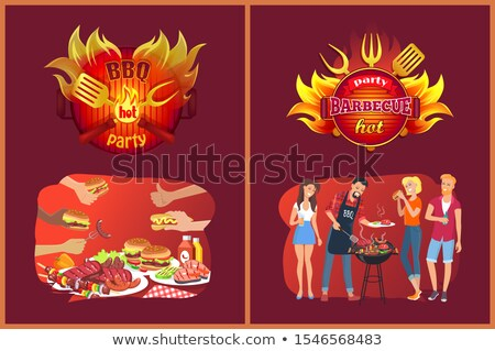 Barbecue Party Emblems and Friends near Grill Stock photo © robuart