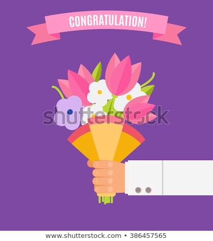 Dom buquê flores parabéns cartão Foto stock © Kotenko
