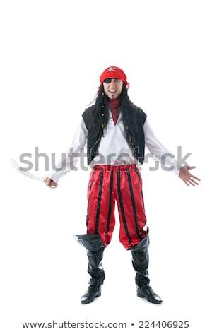 Man piraat geïsoleerd blanke man witte hoed Stockfoto © Elnur