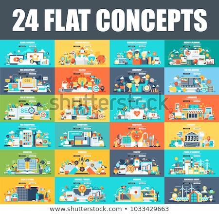 education flat concept icons stock photo © netkov1