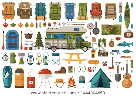 Camping set with campers and tent Stock photo © colematt