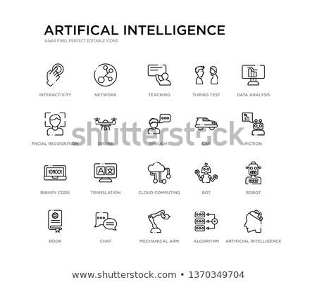 Computer data analysis and chat bot vector illustrations set. Stock photo © RAStudio