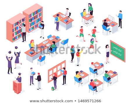 vector isometric teenager or student room stock photo © tele52