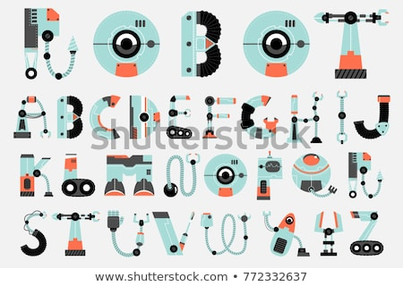 ABC poster with robot and spaceship Stock photo © colematt