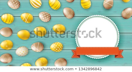 Golden Easter Eggs Emblem Ribbon Wooden Turquoise Header Stock photo © limbi007