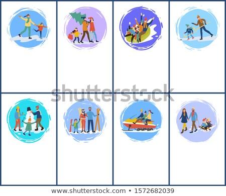 familia · vacaciones · muñeco · de · nieve · trineo · vector · madre - foto stock © robuart