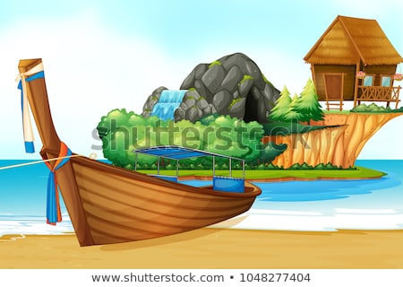 Background scene with wooden hut and waterfall on island Stock photo © colematt