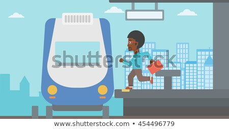 People Running Late at Train Station Illustration Stock photo © artisticco