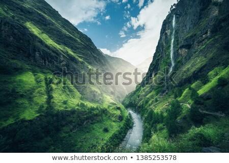 gyönyörű · hegyek · fedett · zöld · fű · szeszélyes · tájkép - stock fotó © denbelitsky