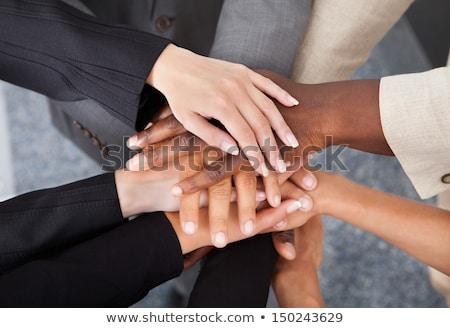 üzletemberek · kezek · alulról · fotózva · kilátás · emberek · üzlet - stock fotó © andreypopov