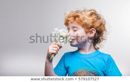 The boy smells a little blue flowers Stock photo © galitskaya