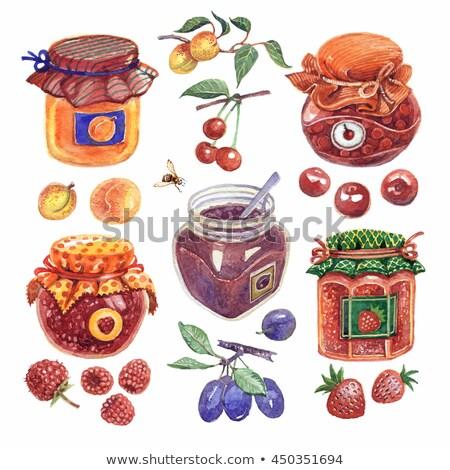 フルーツ ジャム セット コレクション 異なる 色 ストックフォト © netkov1