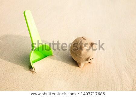 プラスチック シャベル ピギーバック 砂 ビーチ クローズアップ ストックフォト © AndreyPopov