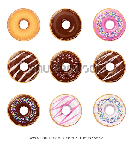 Foto stock: Colorful Donuts On Rose Background