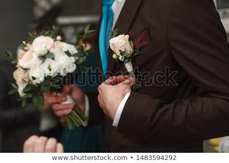 brown elegant buttonhole suit Stock photo © caimacanul