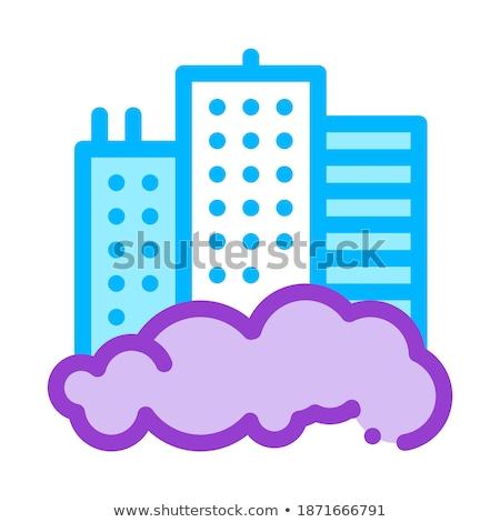 building skyscraper and smog vector thin line icon stock photo © pikepicture