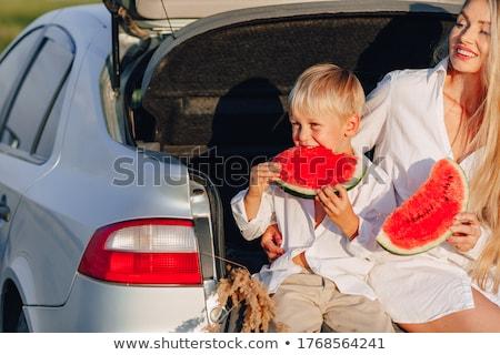 Vidám fiú eszik görögdinnye portré aranyos kicsi Stock fotó © Anna_Om