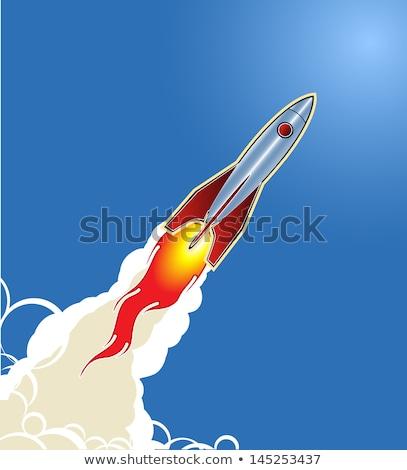 Vintage Rocket Ship Blasting Off Drawing Stock photo © patrimonio