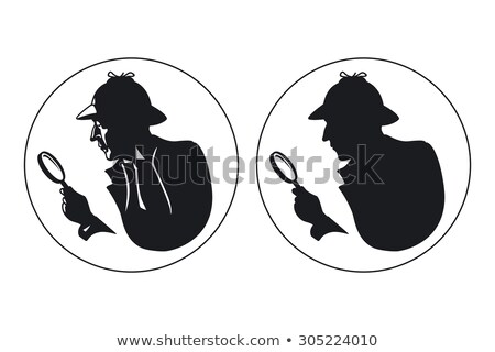 Serious detective with a magnifying glass isolated illustration Stock photo © tiKkraf69