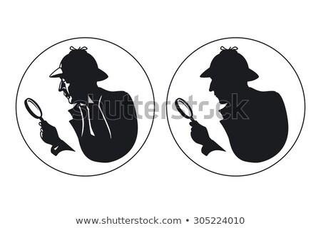 серьезный детектив увеличительное стекло изолированный иллюстрация Hat Сток-фото © tiKkraf69