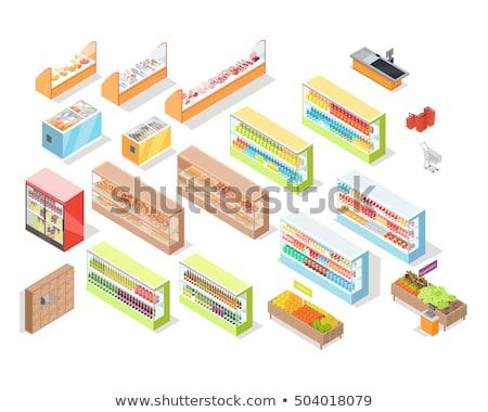 Supermarkt kaas afdeling isometrische vector interieur Stockfoto © robuart