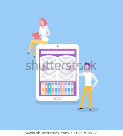 Emberek áll ekönyv olvas könyv vektor Stock fotó © robuart