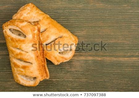 ソーセージ クローズアップ トマトソース 木製 トレイ ストックフォト © Alex9500