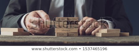 Build up a plan: Businessman building plan-word. stock photo © lichtmeister