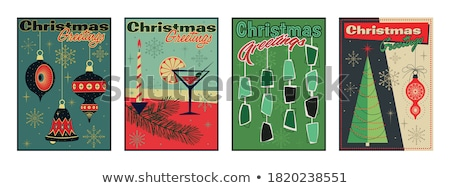 New Year banner of vintage mid century party drink Stock photo © cienpies