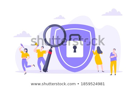Cyber security metaphor flat design style vector illustration Stock photo © Decorwithme
