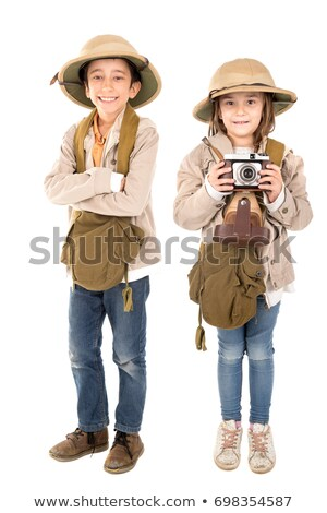 Safari kostüm örnek mutlu çocuklar Stok fotoğraf © bluering