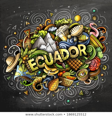 Ecuador hand drawn cartoon doodles illustration. Funny design. Stock photo © balabolka