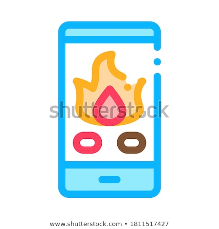 Phone Call Fire Dept Icon Outline Illustration Stock photo © pikepicture
