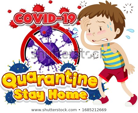 Font design for word quarantine covid-19 with sick boy Stock photo © bluering
