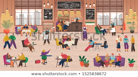 People Playing Games in Cafe or Coffeehouse vector Stock photo © robuart