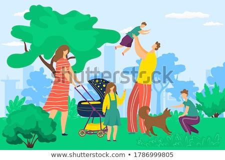 Matka ojciec baby wózki dla dzieci chodzić parku Zdjęcia stock © robuart