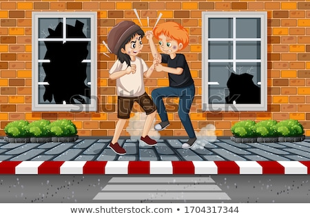 Stockfoto: Domestic Violence Scene With People Fighting On The Sidewalk