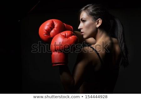 fitness · meisje · bokshandschoenen · vechten · zwarte · glimlach - stockfoto © stryjek